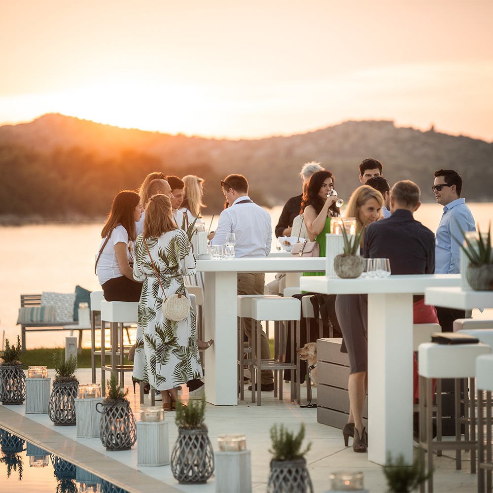 001 bmw driving luxury 2019 welcome evening pool area d resort sibenik aloe vera kerzen stehtisch sonnenuntergang sunset party sommer