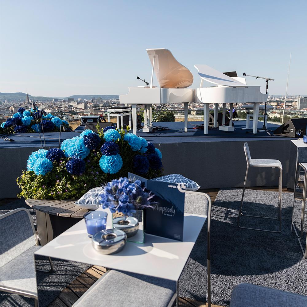 013 erste campus wintergarten 10 jahre mind set dekoration event blau rooftop flügel musik eventstyling